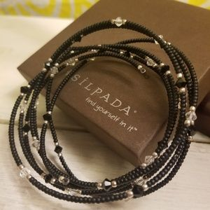 Silpada Black & Sterling Silver mixed with Austria